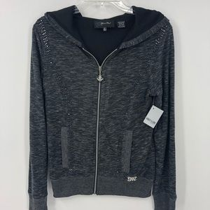 🎄Miss Me Women M Embellished Charcoal Hoodie NWT